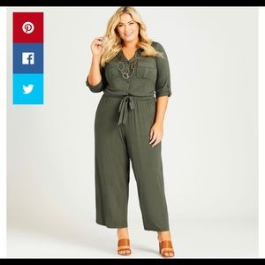 Avenue Utility Jumpsuit in olive green 26/28